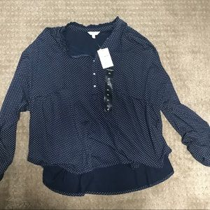 NWT Lucky Brand Dark Blue Pattern Blouse (X-Large)